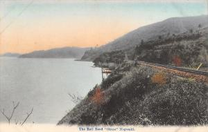 Nagasaki Japan~The Rail Road Okusa~Tracks Along Waterfront~Handcolored~1908 PC