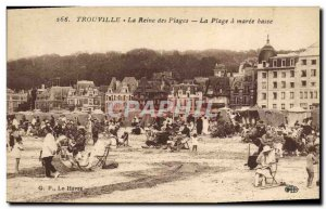Old Postcard Trouville Queen of the beach at low tide beach