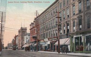 HAMILTON, Ontario, Canada, 1900-10s; James Street, looking North, Trolley, St...
