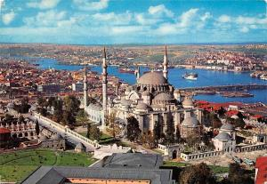 Turkey Istanbul Suleymaniye The Mosque of Soliman Golden Horn BOats Panorama