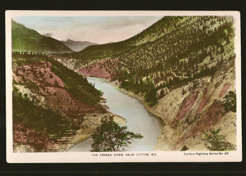 Fraser River Lytton BC Caribou Hwy Series #20 Hand Colored Real Photo Postcard