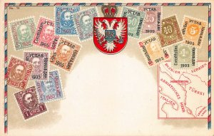 Montenegro Stamps on Early Postcard, Unused, Published by Ottmar Zieher