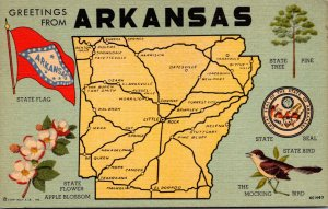 Arkansas Greetings With Map State Seal Flag Flower Tree and Bird Curteich