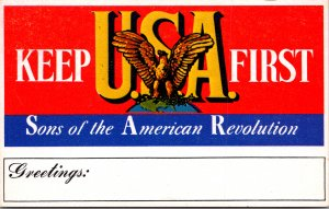 Sons of the American Revolution Keep USA First patriotic vintage postcard eagle