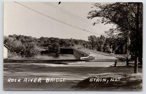 Byron Illinois~Deck Highway Bridge Over Rock River 1940s RPPC Postcard