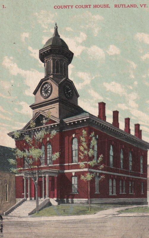RUTLAND, Vermont, 1900-1910's; County Court House