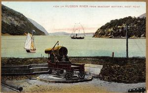 West Point New York~Cannon on Wheels~Hudson River~Gold Border Postcard c1907