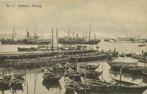 malay malaysia, PENANG, Harbour Scene, Steamers (1910s) Postcard