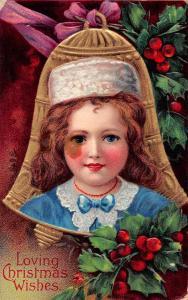 Christmas Greetings Girl in Blue Antique Postcard J75582