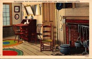 Massachusetts Haverhill Poet Whittier's Birthplace Built 1688 The Kitchen