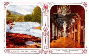 STEREOVIEW postcard  Norway, Stalheim Waterfall, Christiania Royal Palace