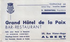 Grand Hotel De La Paix Restaurant Albert WW2 Business Card Ephemera