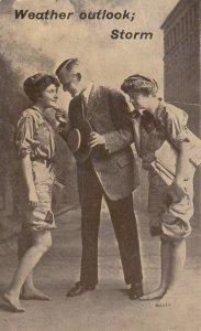 2 Newspaper Girls & Man ; Weather Outlook; Storm , 1913
