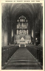 Interior TRINITY CHURCH NEW YORK - NY - Vintage Postcard - PC