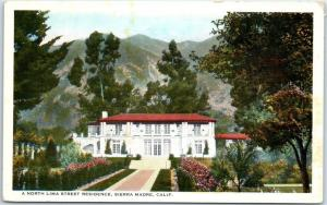 Sierra Madre, California Postcard North Lima Street Residence LA County c1930s