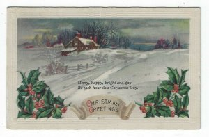Vintage Christmas Greetings Postcard, A Snowy Scene in The Evening, 1926