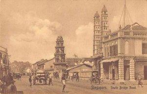 Singapore Malaya South Bridge Road Street Scene Vintage Postcard JI658449