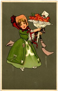 Girl with Bouquet of Roses