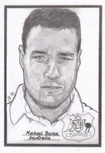 Michael Bevan Australian Cricket Rare Artist Drawing Limited Edn of 500 Postcard