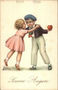 Sinceri Auguri - Fancy Italian Children Boy w/ Heart A. Collino Postcard