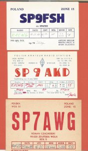 QSL AMATEUR RADIO CARDS – POLAND – 3 DIFFERENT CARDS – 1981-1993 (2)