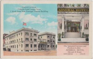 California Ca Postcard c1920s SAN DIEGO ADMIRAL HOTEL ENtrance Lobby 2View