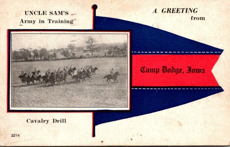 Iowa Des Moines Fort Dodge Cavalry Drill Uncle Sam's Army In Training