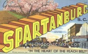 Spartanburg, SC USA Large Letter Town Vintage Postcard Old Post Card Antique ...