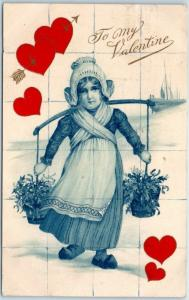 Valentine's Day Postcard To My Valentine Dutch Girl / Red Hearts 1908 Cancel