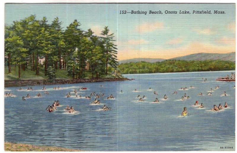 Pittsfield, Mass, Bathing Beach, Onota Lake