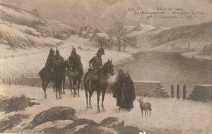 V. chelminski. Un Renseignement. Horses Salon de 1909 French art postcard