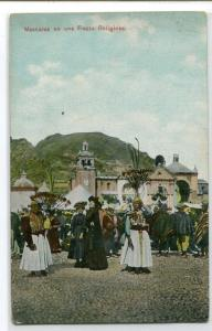Masks Religious Festival Mascaras en una Fiesta Religiosa Peru 1910c postcard