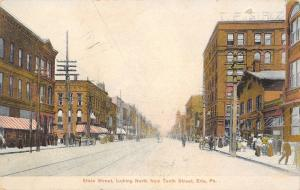 Erie Pennsylvania~State Street North @ 10th~Window Shoppers~Wagons~1908 Postcard