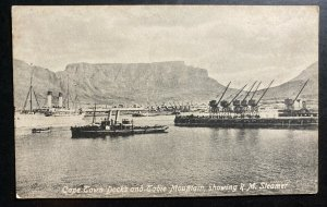 Mint South Africa Real Picture Postcard RPPC Cape Town Docks & Table Mountain