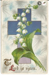 Ultra Violet Cross with Burst of Gray /White Lily of the Valley Vintage Postcard
