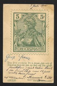 GERMANY Stamps on Postcard Used c1900