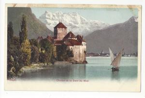 Switzerland Chateau Chillon Castle Dent du Midi Sailboat Vtg UDB Postcard c1905