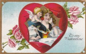 Valentine's Day Cupid Whispering To Beautiful Woman 1910