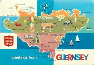 Guernsey greetings uk map postcard