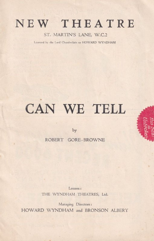 Can We Tell Robert Gore Brown Edna Best Theatre Programme