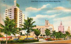 Florida Miami Beach Hotel Row On Collins Avenue