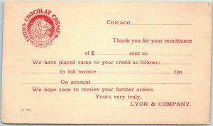 1910s Chicago Business Postcard LYON CANDY COMPANY Lyon's Chocolat Cremes Logo