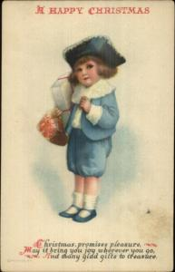 Christmas - Little Boy in Blue w/ Gifts Ellen Clapsaddle Wolf #5 Postcard