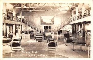 Camp Callan CA~Army Service Club Interior~Chrome Pedestal Ash Tray~WWII RPPC
