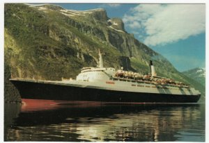 Shipping; Cunard Liner Queen Elizabeth 2 In Fjords PPC, Unposted, c 1990's
