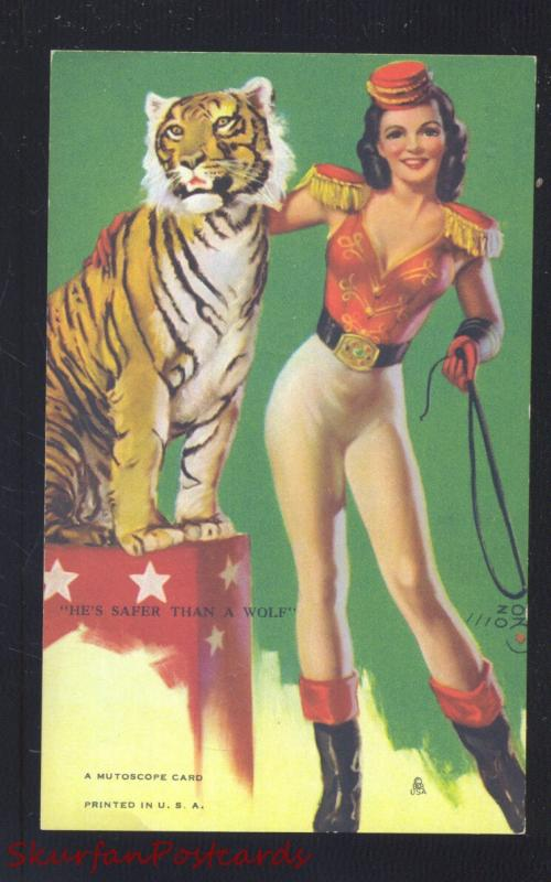 RISQUE MUTOSCOPE CARD PRETTY PINUP GIRL TIGER TAMER SEXY VINTAGE POSTCARD