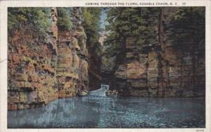 New York Ausable Chasm Coming Through The Flume 1938 Curteich