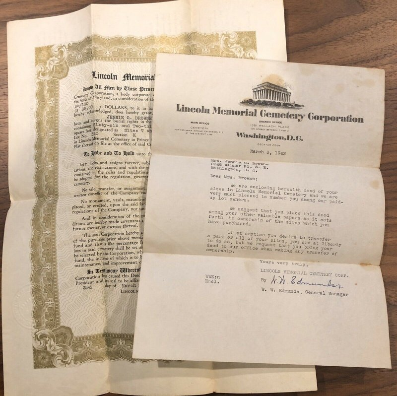 Washington DC - 1942 - Lincoln Memorial Cemetery - Plot Letter vintage