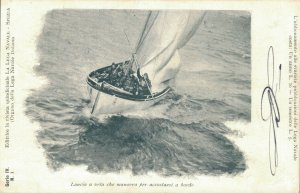 Italy Lancia a vela che manovra per accostarsi a bordo 03.06