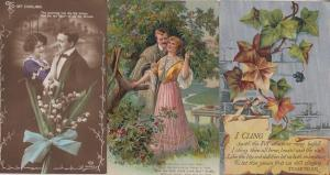 Lovers Mistletoe Christmas Clinging To Ivy 3x Shiny Antique Postcard Bundle